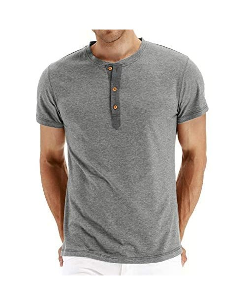 PERDONTOO Mens Slim Fit Short Sleeve Henley T-Shirt Casual Basic Tee
