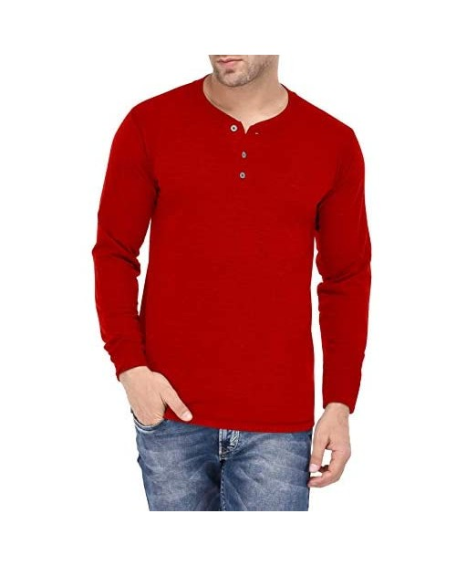Red Mens Henley Long Sleeve - Full Sleeve Jersey Shirts | Henley S