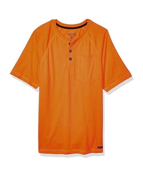 Smith's Workwear Men's Short Sleeve Raglan Henley Pocket Tee
