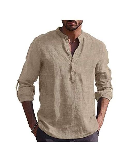 Tinkwell Men's Linen Shirt Long Sleeve Casual Henley Shirts Beach Summer T Shirts Khaki XXL