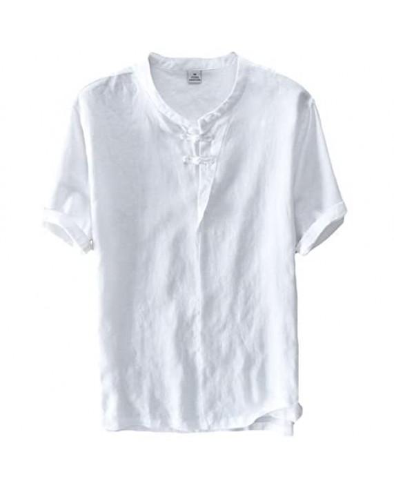 utcoco Man's Retro Round Collar Frog-Button Straight Fit Short Sleeve Linen Henley Shirts