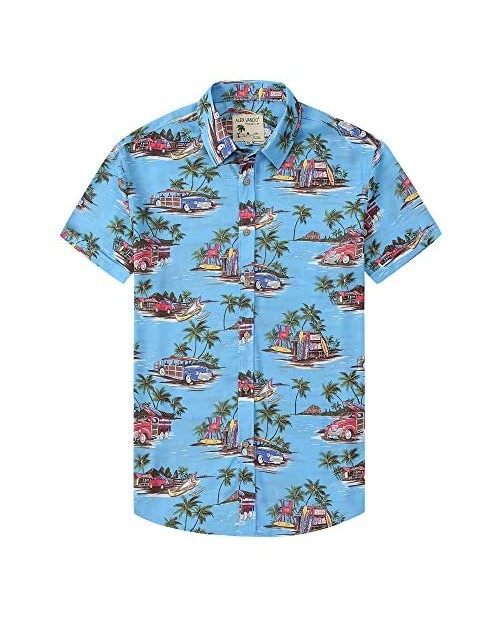 Alex Vando Mens Casual Button Down Hawaiian Shirts Short Sleeve Beach Shirt