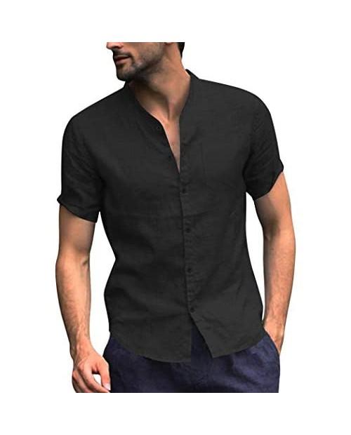 COOFANDY Men's Cotton Linen Shirt Regular Fit Short Sleeve V Neck Button Down Summer Shirt Beach T Shirts