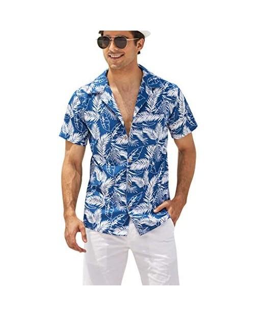 COOFANDY Men's Hawaiian Floral Shirts Cotton Linen Button Down Tropical Holiday Beach Shirts