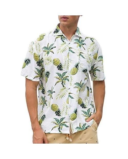 Janmid Men's Tropical Hawaiian Shirt/Linen Cotton Shirt Casual Button Down Short Sleeve Shirt