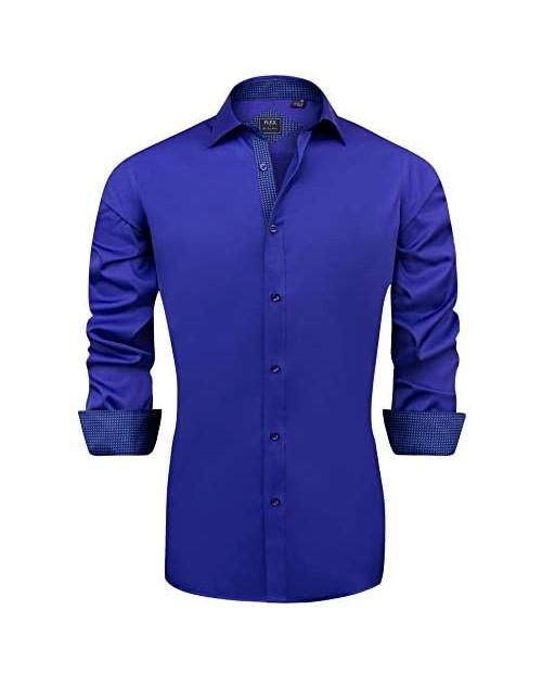 J.VER Men's Casual Long Sleeve Stretch Dress Shirt Wrinkle-Free Regular Fit
