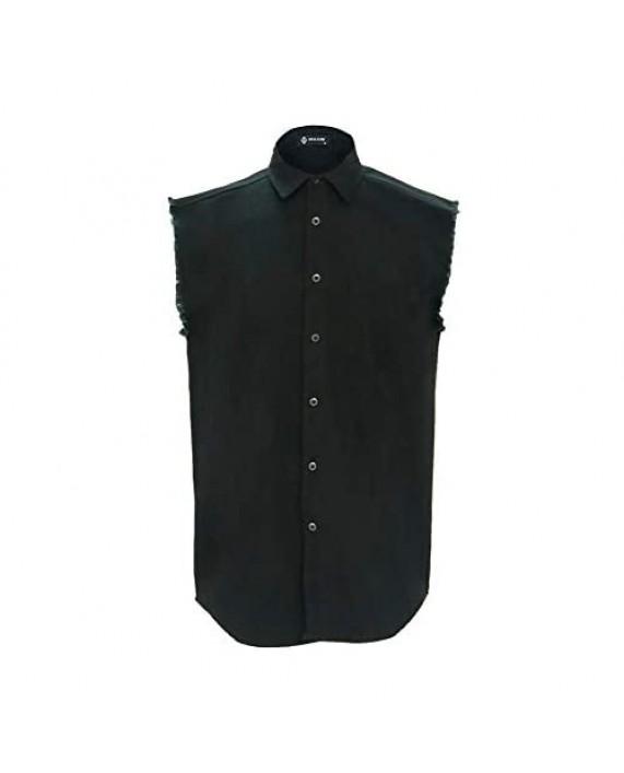 MCULIVOD Men's Sleeveless Denim Cotton Shirt Biker Vest Cowboy Button Down with Shirts Front Pocket