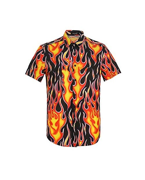 Men's Flame Stylish 3D Printed Graphic Short Sleeve Shirts Casual Fashion Print Button Down Shirt