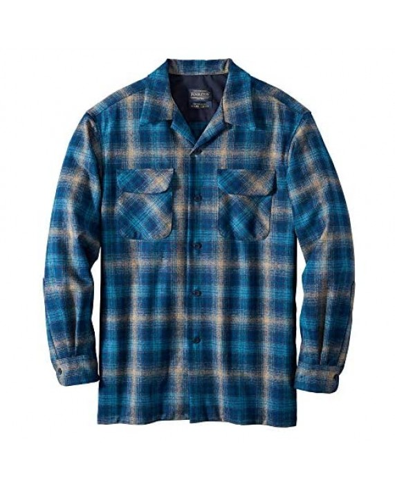 Pendleton Men's Long Sleeve Tall Board Shirt Taupe/Blue/Navy Ombre Large