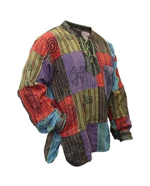 shopoholic fashion Mens Stonewashed Blocked Hippie Shirt