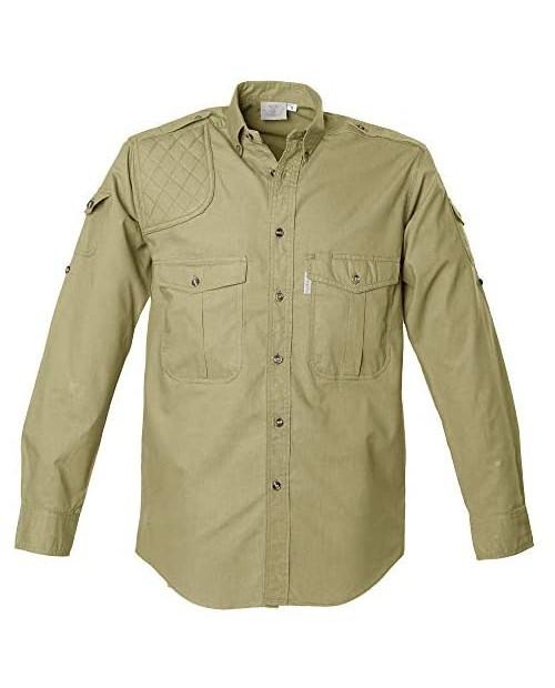 Tag Safari Shooter Shirt for Men Long Sleeve 100% Cotton Sun Protection for Outdoor Adventures