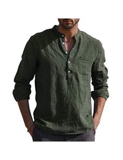 URRU Men's Linen Cotton Blend Henley Shirt Roll-up Long Sleeve Basic Summer Vintage Shirt Band Collar Plain Tee S-XXL