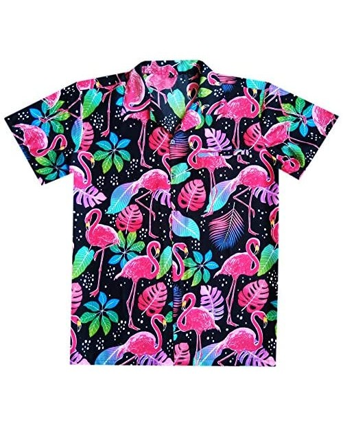 Varnit Crafts Hawaiian Shirt for Mens Flamingo Button-Down Relaxed-Fit