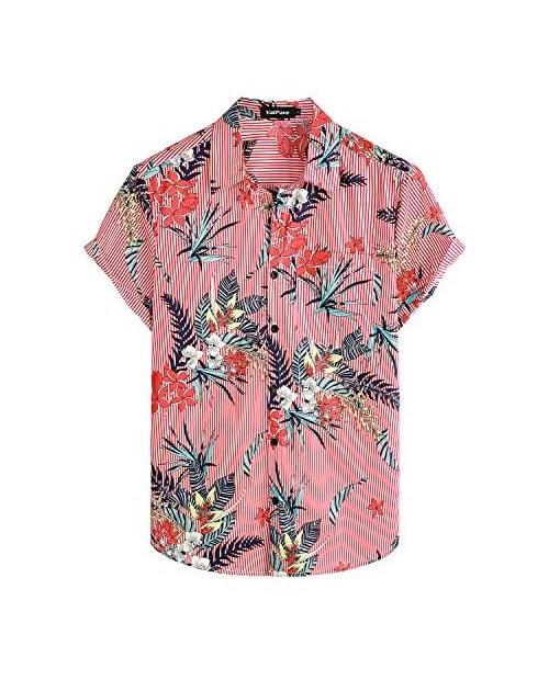 VATPAVE Mens Floral Hawaiian Shirt Casual Button Down Short Sleeve Aloha Beach Shirts