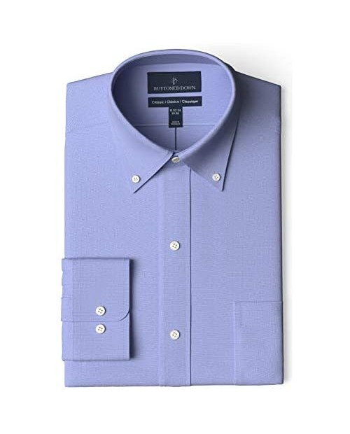 """Brand - Buttoned Down Men's Classic Fit Button Collar Solid Non-Iron Dress Shirt Blue w/ Pocket 17.5"""" Neck 37"""" Sleeve"""