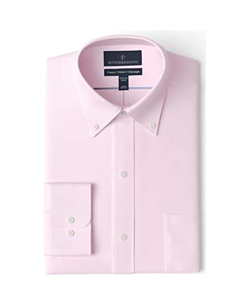 """Brand - Buttoned Down Men's Classic Fit Button Collar Solid Non-Iron Dress Shirt Light Pink 17"""" Neck 35"""" Sleeve"""