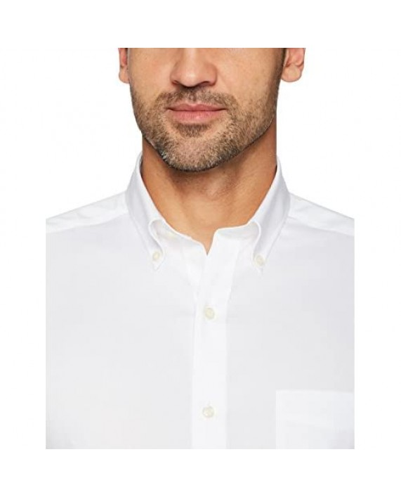"Brand - Buttoned Down Men's Tailored-Fit Button Collar Pinpoint Non-Iron Dress Shirt White 19.5"" Neck 39"" Sleeve (Big and Tall)"