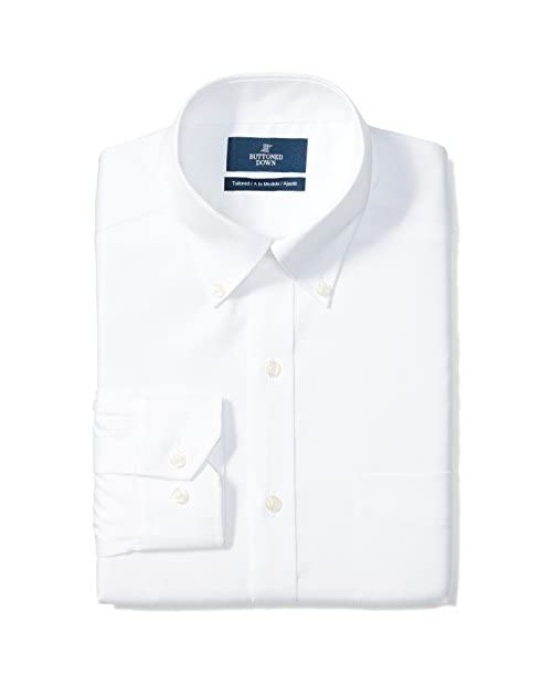 "Brand - Buttoned Down Men's Tailored-Fit Button Collar Pinpoint Non-Iron Dress Shirt White 18"" Neck 37"" Sleeve (Big and Tall)"