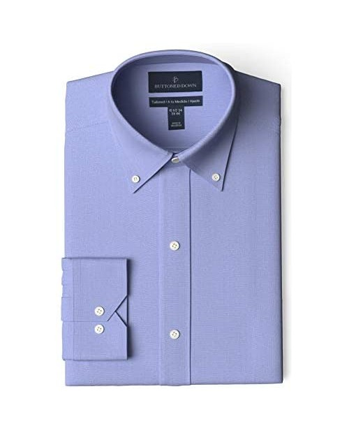 """Brand - Buttoned Down Men's Tailored-Fit Button Collar Pinpoint Non-Iron Dress Shirt Blue 17.5"""" Neck 34"""" Sleeve"""