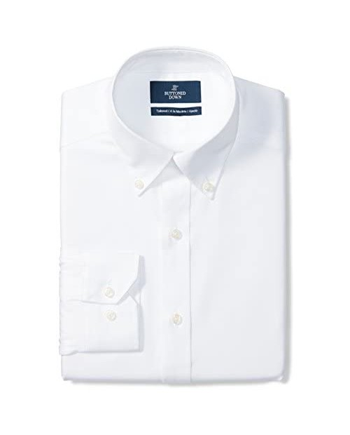 "Brand - Buttoned Down Men's Tailored-Fit Button Collar Pinpoint Non-Iron Dress Shirt White 17"" Neck 37"" Sleeve"
