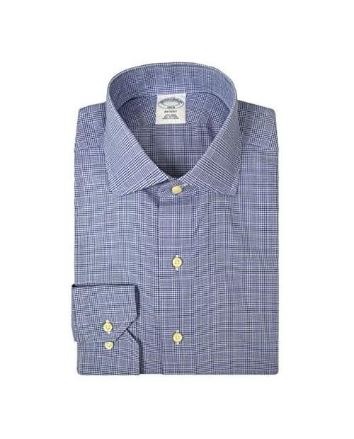 Brooks Brothers Men's Regent Fit All Cotton Non Iron Dress Shirt Glen Plaid