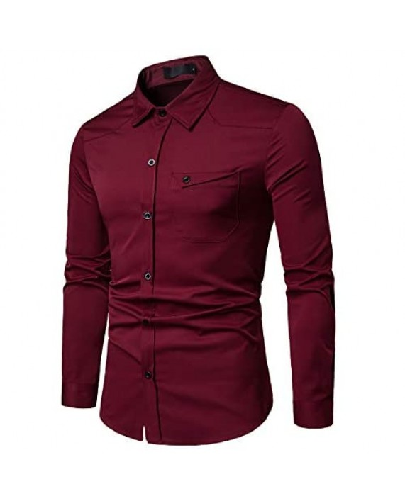 Cloudstyle Mens Casual Regular Fit Long Sleeve Formal Solid Button Down Dress Shirt