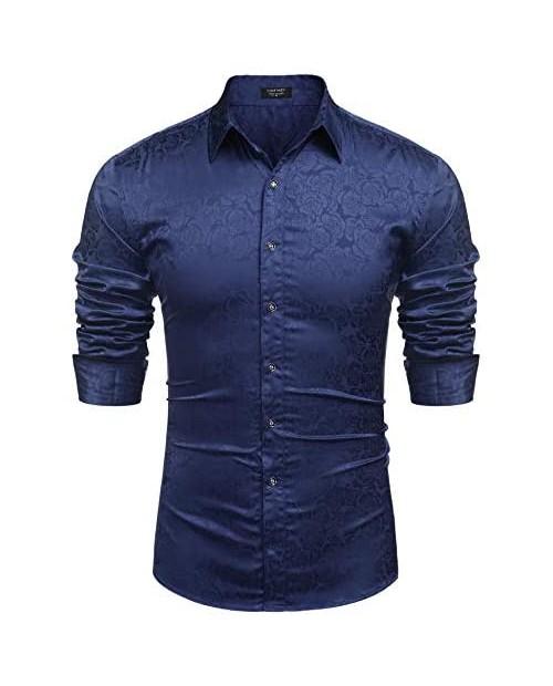 COOFANDY Men's Floral Print Long Sleeve Dress Shirt Luxury Shiny Satin Silk Like Dance Prom Button Down Shirt