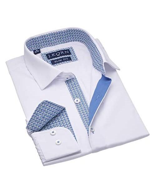 J.Korn Men's White Dress Shirt Inner Contrast Long Sleeve Men's Shirt Slim Fit White Shirt Soft Cotton Blend