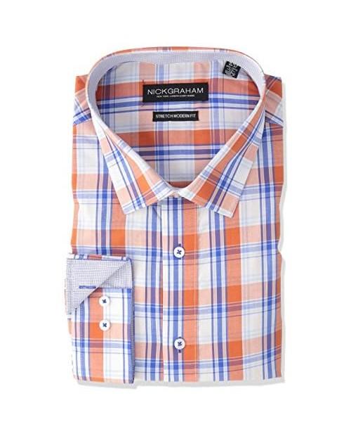 Nick Graham Men's Modern Fitted Plaid Pattern Stretch Dress Shirt