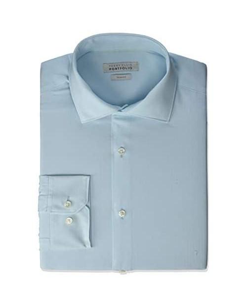 Perry Ellis Men's Slim Fit Spread Collar Dress Shirt