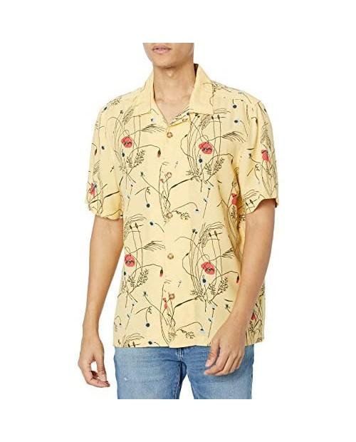 Perry Ellis Men's Standard Floral Print Camp Collar Soft Short Sleeve Button-Down Shirt