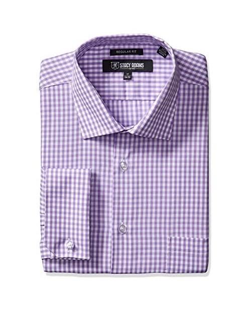 STACY ADAMS Men's Gingham Check Dress Shirt