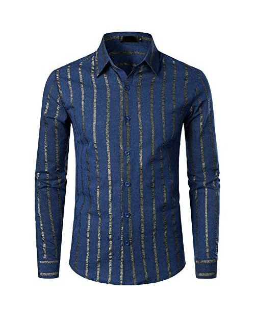 VATPAVE Mens Casual Dress Shirts Regular Fit Button Down Striped Shirts Bussiness Formal Long Sleeve Shirts