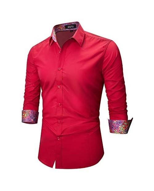 WULFUL Men's Dress Shirt Printed Regular Fit Long Sleeve Casual Shirt