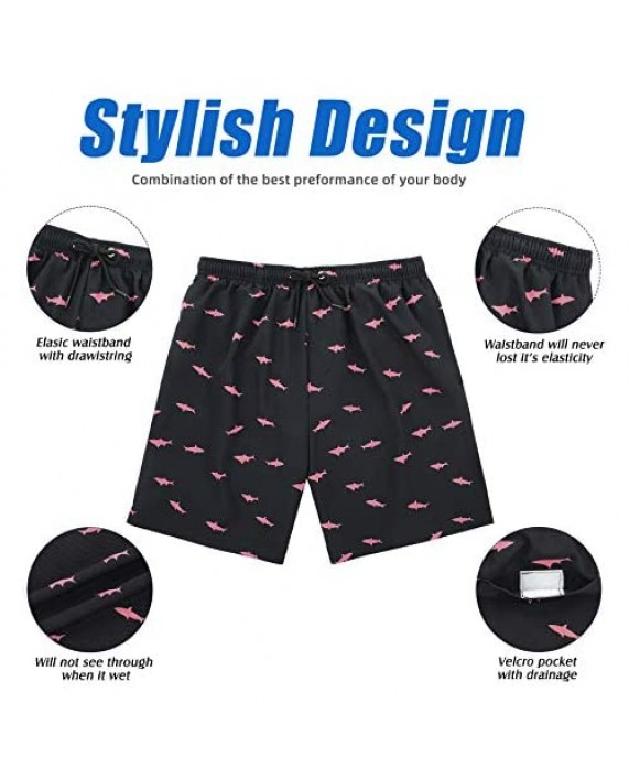 American Trends Mens Swim Trunks Quick Dry Swimming Shorts Mesh Lining Beach Shorts Bathing Suits with Pockets for Men