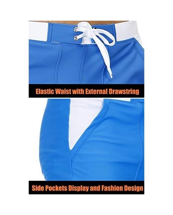BIYLACLESEN Men's Swim Trunks with Mesh Lining Quick Dry Bathing Suits Board Shorts Summer Beach Shorts Pockets