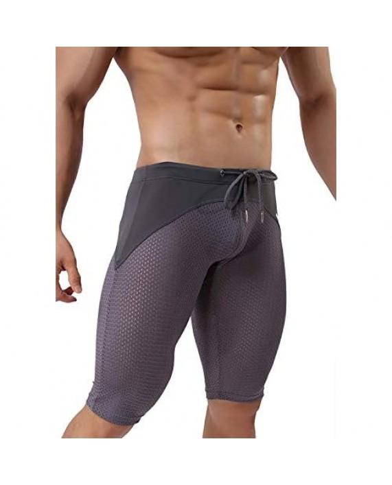 BRAVE PERSON Men's Fashion Breathable Mesh Elastic Training Shorts Swim Trunks Beach Pants 2240
