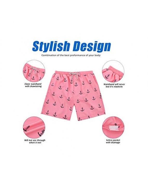 Century Star Men's Athletic Swim Trunks Quick Dry Beach Shorts Sportwear with Mesh Lining Swimwear Bathing Suits
