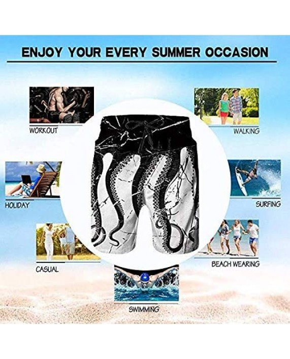 Sea Waves Men Swim Trunks Cool Quick Dry Surf Beach Shorts with Mesh Lining/Side Pockets