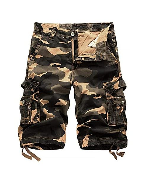 AKARMY Men's Camo Cargo Shorts Relaxed Fit Lightweight Multi Pocket Casual Outdoor Cargo Shorts