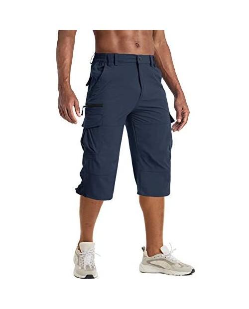 BIYLACLESEN Men's Cargo Shorts with 7 Pockets Quick Dry Work Shorts Below Knee 3/4 Capri Long Hiking Shorts