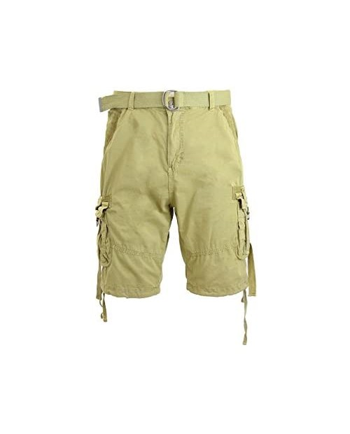 Galaxy by Harvic Mens Cotton Belted Cargo Shorts Vintage Distressed Jetlag Lounge Sizes 30-48 NWT