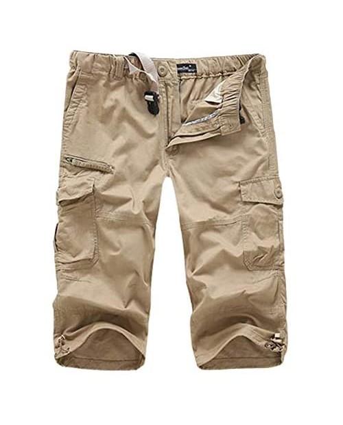 HZKLFS Men's Capri Shorts Below Knee Loose Fit Multi-Pocket Cargo Shorts