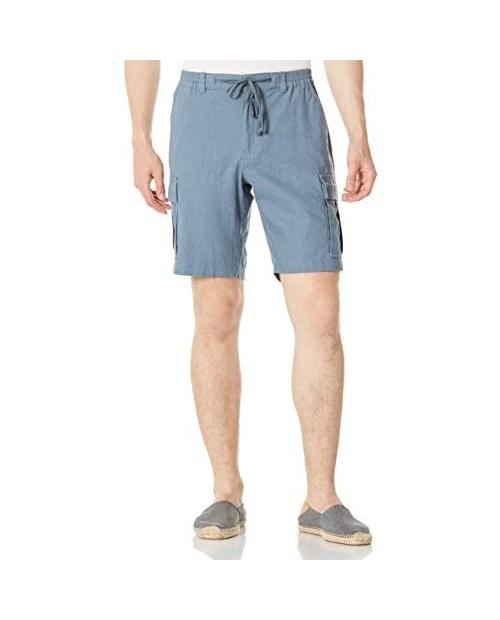 "Isle Bay Linens Men's 9.5"" Inseam Linen Cotton Blend Cargo Shorts"