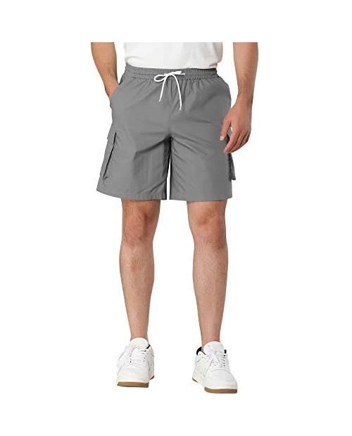 Lars Amadeus Men's Summer Cargo Shorts Regular Fit Elastic Waist Drawstring Pants