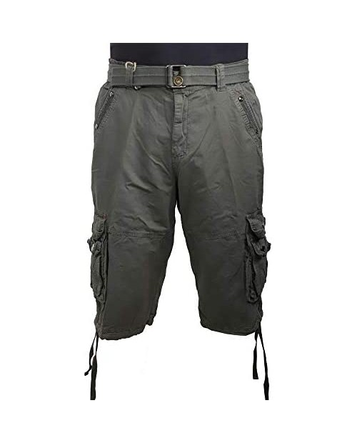 LeeHanTon Mens Cotton Workout Cargo Shorts Casual Quick Dry Performance Multi Pocket Summer Twill Belted Shorts