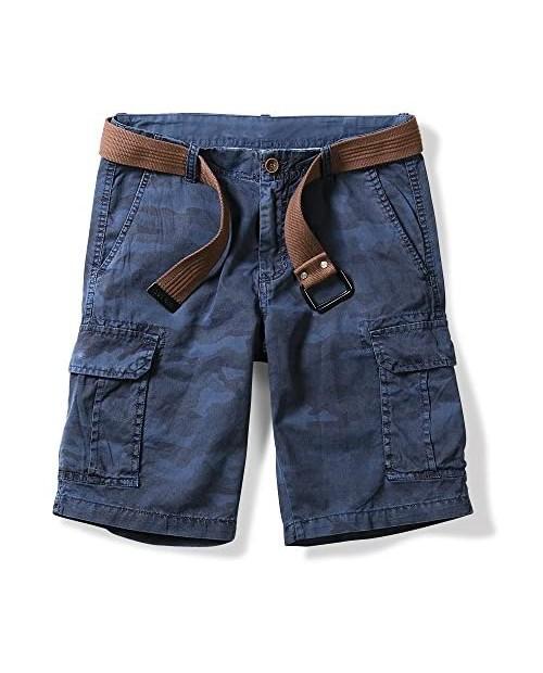 OCHENTA Men's Lightweight Camo Cargo Shorts Multi Pockets Blue 34