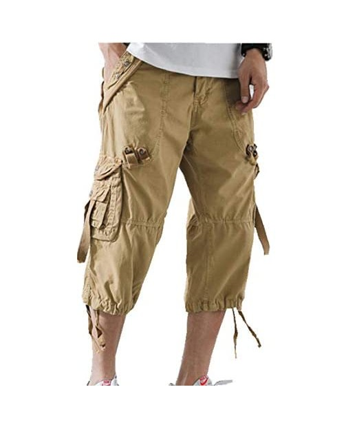ONLYWOOD Men's Washed Cotton Multi-Pockets Below Knee Long Military Cargo Shorts