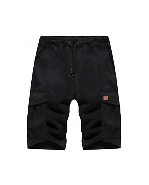 Romwe Men's Classic Fit Drawstring Waist Bermuda Cargo Shorts with Flap Pocket