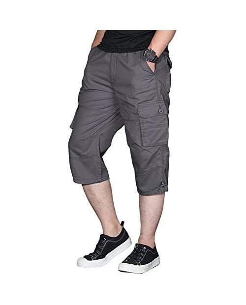 sandbank Men's Long Shorts Elastic Waist Cargo Shorts Below Knee Capri Pants 6 Pockets
